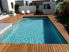 Swimming pool terrace Ipé hidden screws integrated coping Source by florencebenarib