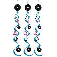 5 Baby Boys 1st Birthday Whirls Hanging Decorations Shiny Metallic Swirls Party