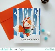 Quick Holiday card ideas, Christmas card,Video Tutorial, Craftangles Christmas animals element pack, die cutting,Hello blue bird birch tree dies ,Quillish,