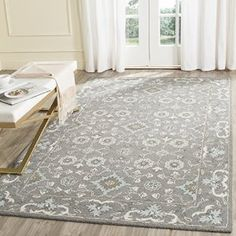 Amazon.com: Safavieh Blossom Collection BLM218A Handmade Grey Wool Area Rug, 5 feet by 8 feet (5' x 8'): Kitchen & Dining
