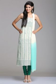 Cream & Light Sea Green Unstitched Cotton Suit With Floral Vine Chikankari Embroidery