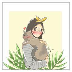 Cat Wallpaper, Galaxy Wallpaper, Girl Cartoon, Cartoon Art, Anime Muslim, Hijab Cartoon, Aesthetic Backgrounds, Cat Love, Manga Anime