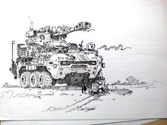 Another slightly oversized APC, Black pen and paper, : Art Pen And Paper, Apc, Cool Drawings, Vintage World Maps, Sci Fi, Artwork, Black, Vehicles, Boards