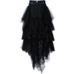 Natasha Zinko Asymmetric Tulle Skirt ($1,780) ❤ liked on Polyvore featuring skirts, black, tulle skirt, asymmetrical skirt and knee length tulle skirt