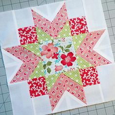 Some of my all-time favorite prints are in this lovely block that Peggy made, and I couldn't resist. It just had to be mine. Star Quilt Blocks, Star Quilt Patterns, Star Quilts, Easy Quilts, Mini Quilts, Pattern Blocks, Craft Patterns, Quilting Projects, Quilting Designs