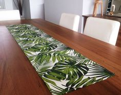 Palm Leaves Tropical Table Runner Coastal Classic. Vintage Hawaiian Style. Beach House Decor. Retro Tropical