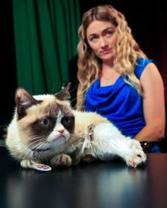 Tabatha Bundesen and her cat, Grumpy Cat, whose real name is Tardar Sauce, prepare for an interview on Friday April 4, 2014 in New York.  #GrumpyCat #Tard #TardarSauce