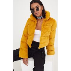 Mustard Faux Fur Puffer Jacket (£50) ❤ liked on Polyvore featuring outerwear, jackets, yellow, puff jacket, yellow jacket, fake fur jacket, cropped puffer jacket and mustard yellow jacket