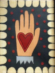 Painted on an 9 by 12 stretched canvas, this heart in hand is done in the style of a penny rug. Instead of wool felt and thread, I used acrylic My Funny Valentine, Valentine Crafts, Valentines, Wool Quilts, Barn Quilts, Primitive Quilts, Primitive Embroidery, Felt Gifts, Painted Rug