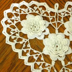 Pearly White Heart with 3D White Roses Irish by RSSDesignsInFiber