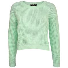 Pilot Larissa Waffle Knit Cropped Jumper (62 PLN) ❤ liked on Polyvore featuring tops, sweaters, shirts, jumpers, mint green, knitwear, cropped sweater, waffle shirt, mint green shirt and long sleeve crop top