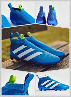 2016 Adidas ACE 16+ Purecontrol FG Shock Blue Semi Solar Slime White is the third Adidas Ace PureControl 2016 boot colorway.