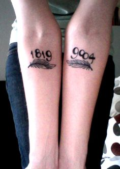 I like this tattoo idea to remember either dates of birth or dates of loss...