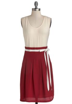 Scenic Road Trip Dress in Cream and Cranberry. Pack your camera and grab your best buddy, because it's time to hit the road.  #modcloth