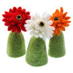 Aufsteller Eierwärmer Tischdeko Fensterdeko Blüten Filz 3er Set Gerbera