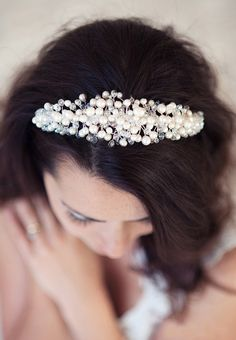 Wedding tiaras Pearl Bridal Tiara bespoke by FancyBOWtiqueBridal, £112.00