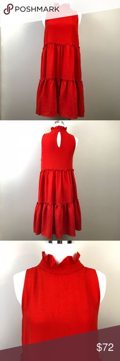 d33487b84f4e9 NWOT Anthro Elliatt Red Ruffled Neck Swing Dress M NWOT Anthropologie  Elliatt Red Ruffled Neck Swing