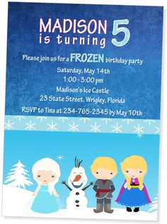 Hey, I found this really awesome Etsy listing at https://www.etsy.com/listing/191127522/disney-frozen-birthday-invitationelsa