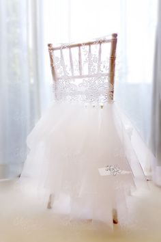 Ballerina Tutu Lace Chair Cover | Chiavari Chair Slipcover for Sweet 16 Birthday Party Bridal Shower #ChairCovers