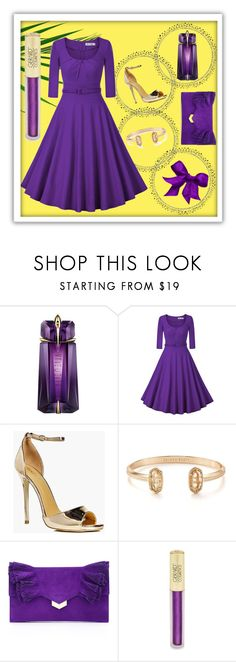 """""""Violet and Gold"""" by lullulu ❤ liked on Polyvore featuring Thierry Mugler, Boohoo, Kendra Scott, Jimmy Choo and Forever 21"""