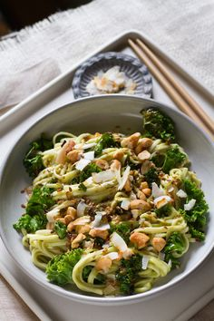 Avocado Green Curry Noodles with Toasted Coconut and Cashews from www.aidamollenkamp.com