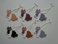 Dutch Bunny Rabbit Perler Bead Ornament van 4BunniesBeading op Etsy