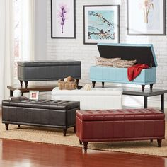This black brown wood storage bench can be used to store items and to provide extra seating. The bench features a tufted seat that is made out of bi-cast vinyl and dark-stained legs.
