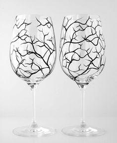 Winter Tree Branch Wine Glasses--Set of 4 Hand-Painted Wine Glasses. $65.00, via Etsy.