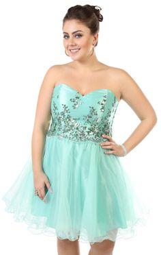 Deb Shops plus size sequin #floral strapless party #dress