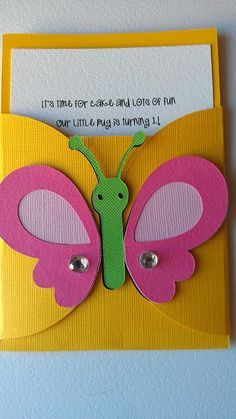 Bug, Garden party theme pocket invitation Pick your colors, pick your bugs or theme is part of garden Party Activities - Candy tags ~Place cards All items are made by hand in a smoke and pet free home Garden Party Theme, Happy Birthday Banners, Birthday Cards, Preschool Art Activities, Party Activities, Pocket Invitation, Name Banners, School Decorations, Kids Cards