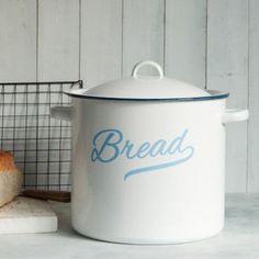 Enamel Bread Bin   dotcomgiftshop   Winter Sale Now On Bread Bin, Bread Boxes, Kitchen Storage, Food Storage, Life Kitchen, Kitchen Ideas, Modern Victorian Homes, London Food, Homemade Cakes
