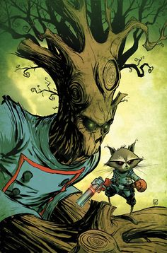 Groot & Rocket Raccoon by Skottie Young