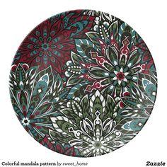 Colorful mandala pattern porcelain plate  #Home #decor #Room #Interior #decorating #Idea #Styles #Traditional #Boho #Indian #Vintage #floral #motif