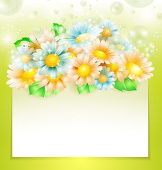 Spring flowers with paper banner
