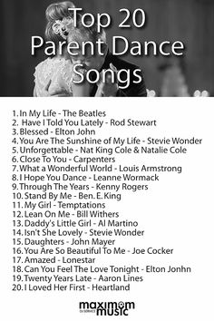 Top 20 Parent Dance Songs of 2015 Wedding Song List, Wedding Playlist, Wedding Music, Wedding Tips, Wedding Reception, Our Wedding, Wedding Planning, Dream Wedding, Wedding Favors