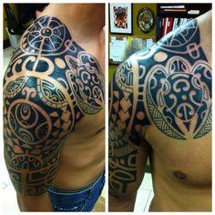Polynesian Half Sleeve Tattoo 249