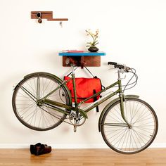 Bike All Walnut Blue, Featured on Fab.com. An interesting way to store your bike in an apartment.