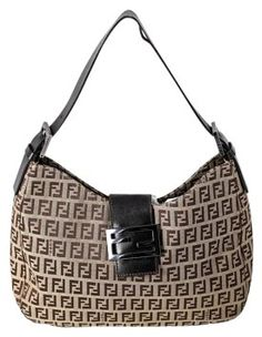 96e52050dc31 GB1014416K FENDI Monogram shoulder bag Fendi monogram brown canvas and  leather… Brown Canvas