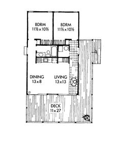 First Floor Plan of Contemporary   Country   Ranch   Vacation   House Plan 19709