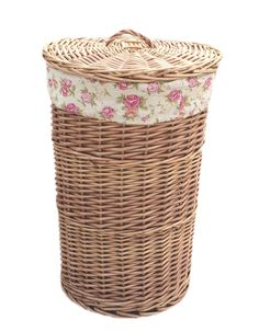 Light Steamed Round Laundry Baskets with Garden Rose Lining Laundry Bin, Laundry Baskets, Wicker, Artisan, Rose, Garden, Handmade, Colour Colour, Natural