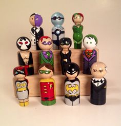 Complete Batman Superhero Peg Doll play set- 11 large figures total!
