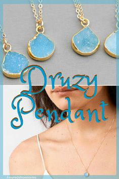 All natural and stunning! It's sparkly too! These handcrafted druzy necklaces are really beautiful pieces and each piece is unique and different. Choice of stone shade available. #ad #necklace #gift #bridesmaidgift #wedding #littlegirlgift #myredshoestories
