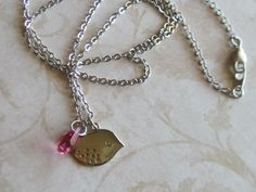 Sparrow and Pink Drop Necklace October Birthstone by LadyInPurple, $18.00