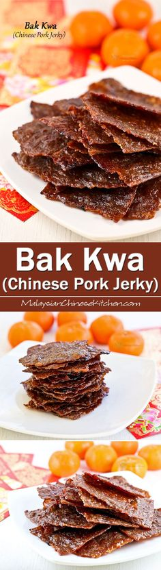 Wafer thin Bak Kwa (Chinese Pork Jerky) is a must-have for the Chinese New Year. Make your own using just a few simple ingredients and at a fraction of the cost. | MalaysianChineseKitchen.com Jerky Recipes, Meat Recipes, Asian Recipes, Cooking Recipes, Free Recipes, Pork Jerky, Jai Faim, Chinese Pork, Singapore Food