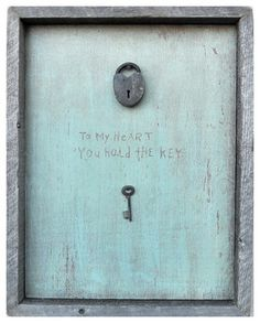 This is a site to order this wall hanging but I thought it would be easy to make - Key To My Heart Turquoise Reclaimed Wood Wall Art - contemporary - prints and posters - Kathy Kuo Home