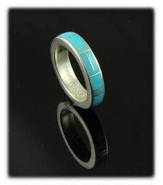All Around Inlay Band Ring with Sleeping Beauty Turquoise