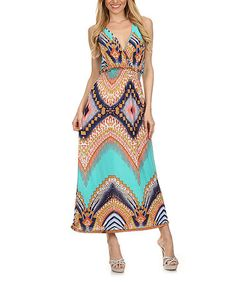 Look what I found on #zulily! Aqua Scarf-Print Silk-Blend Maxi Dress #zulilyfinds