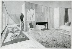 RNDRD is a frequently-updated partial index of architectural drawings and models scanned from design publications throughout the century. Architecture Drawings, Interior Architecture, Interior And Exterior, 1940s Home, Interior Rendering, Vintage Interiors, Mid Century Furniture, Design Process, Midcentury Modern