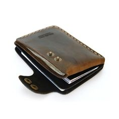 Slim leather wallet women men wallet cash card holder design from tan brown duotone