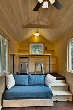 A thoughtful design for a truly tiny (160 sq ft) home, with a real bathroom with shower, and functional kitchen. This simple but efficient design lends itself to spending a little money on higher-end finishes which would take it to another level.